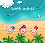 大海沙滩椰林俯视图