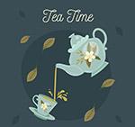 花纹茶壶和茶杯