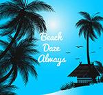 沙滩椰子树风景剪影