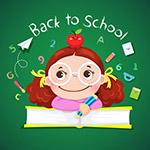 返校女孩和课本