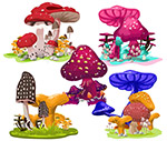 彩色卡通蘑菇