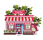 粉色糖果屋建筑
