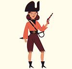 卡通持枪的女海盗