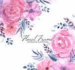 水彩绘粉色玫瑰花