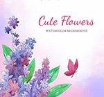 紫色花卉和蝴蝶