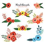 彩色花卉设计矢量