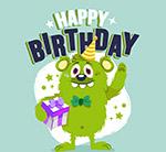 绿色怪物生日贺卡