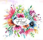 水彩绘美丽花卉