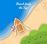 沙滩上的小船俯视图