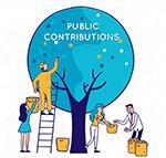 公众捐助人物插画