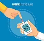 使用血糖检测仪的手臂