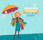 雨季购物促销海报