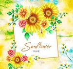 水彩绘葵花框架