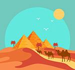 沙漠金字塔和骆驼
