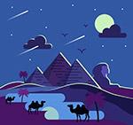 美丽夜晚沙漠风景