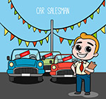 卡通汽车销售男子