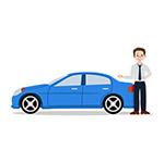 轿车和销售男子