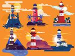 卡通岛屿灯塔