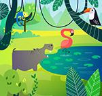 可爱森林池塘动物