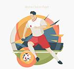 抽象踢足球运动员