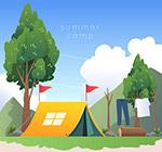 夏季野营帐篷插画