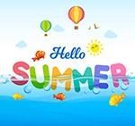 夏季艺术字矢量