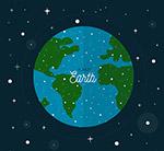 扁平化太空中的地球