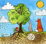 树木和森林动物插画