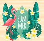 夏季花卉和火烈鸟