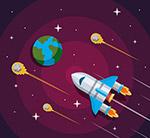太空中的地球和飞船