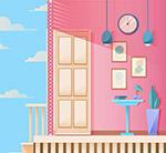 粉色客厅走廊
