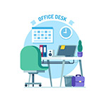 蓝色私人办公桌