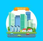彩色城市建筑风景