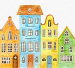 彩绘并排4个楼房