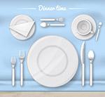白色餐具俯视图