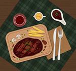 美味牛排菜肴俯