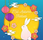 中秋�月亮和白兔