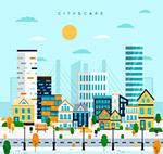 扁平化城市建筑风景