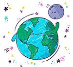 打招呼的地球和月球