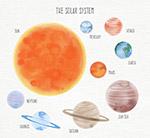 水彩绘太阳系行星