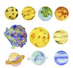 水彩绘太阳系
