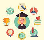 女子和教育元素圆环