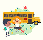 乘坐校车的学生