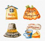 水彩绘感恩节标签