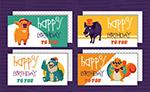 卡通动物生日贺卡