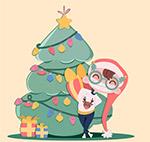 圣诞树前送礼物