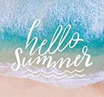 你好夏季海浪艺术字