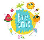 你好夏季元素