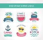 彩色手绘夏季标签