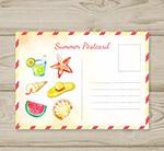 彩绘夏季元素明信片